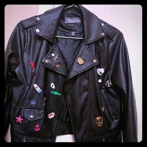 Bagatelle Faux Leather Embellished Jacket Size XS